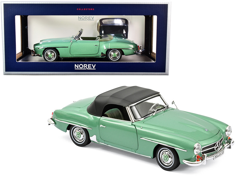 1957 Mercedes Benz 190 SL Cabriolet Light Green Metallic Black Top 1/18 Diecast Model Car Norev 183401