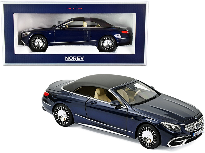 2018 Mercedes Maybach S650 Cabriolet Dark Blue Metallic Black Top 1/18 Diecast Model Car Norev 183472