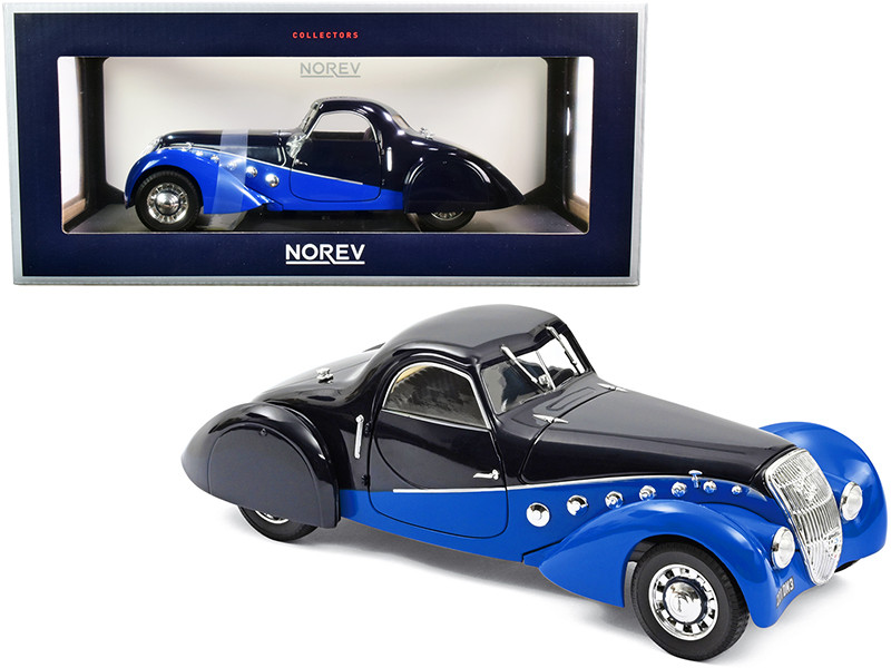 1937 Peugeot 302 Darl Mat Coupe Dark Blue Blue 1/18 Diecast Model Car Norev 184696