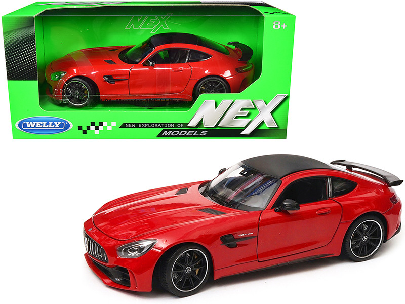 Mercedes AMG GT R Red Carbon Top NEX Models 1/24 Diecast Model Car Welly 24081