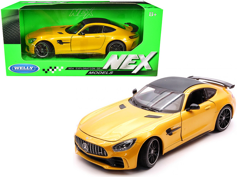 Mercedes AMG GT R Yellow Metallic Carbon Top NEX Models 1/24 Diecast Model Car Welly 24081
