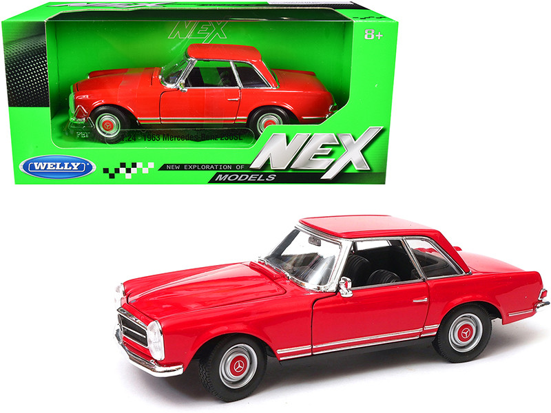 1963 Mercedes Benz 230SL Coupe Red NEX Models 1/24 Diecast Model Car Welly 24093