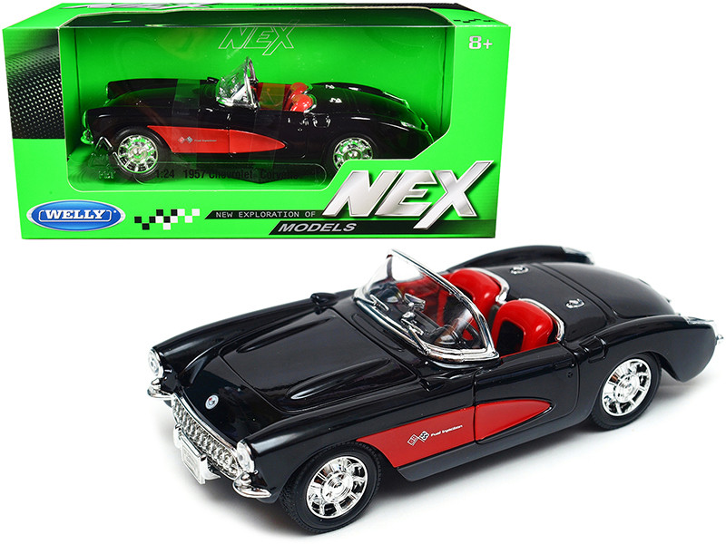 1957 Chevrolet Corvette Convertible Black Red Red Interior NEX Models 1/24 Diecast Model Car Welly 29393
