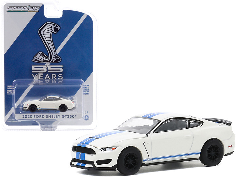 2020 Ford Mustang Shelby GT350 Heritage Edition White Blue Stripes Mustang GT350 55th Anniversary Anniversary Collection Series 11 1/64 Diecast Model Car Greenlight 28040 F