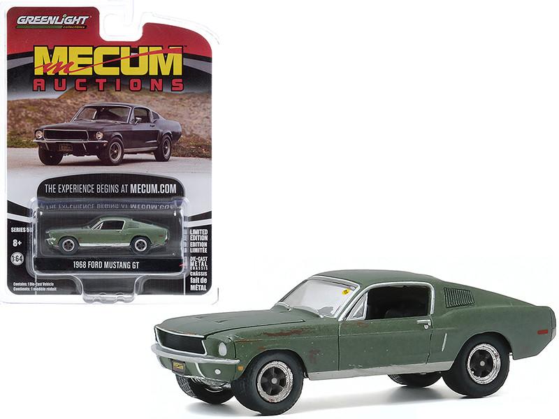 1968 Ford Mustang GT Fastback Green Unrestored Bullitt Kissimmee Florida 2020 Mecum Auctions Collector Cars Series 5 1/64 Diecast Model Car Greenlight 37210 A