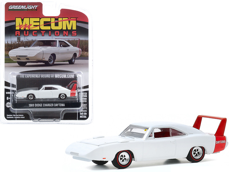 1969 Dodge Charger Daytona White Kissimmee Florida 2020 Mecum Auctions Collector Cars Series 5 1/64 Diecast Model Car Greenlight 37210 B