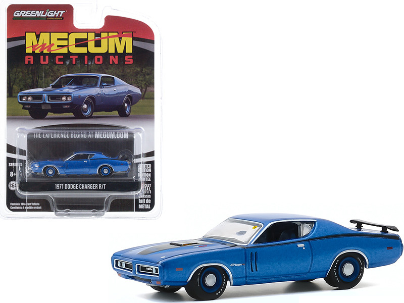 1971 Dodge Charger R/T Blue Metallic Black Stripes Dallas Texas 2019 Mecum Auctions Collector Cars Series 5 1/64 Diecast Model Car Greenlight 37210 D