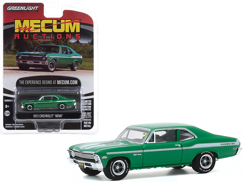 1972 Chevrolet Nova Green White Stripes Chicago Illinois 2019 Mecum Auctions Collector Cars Series 5 1/64 Diecast Model Car Greenlight 37210 E