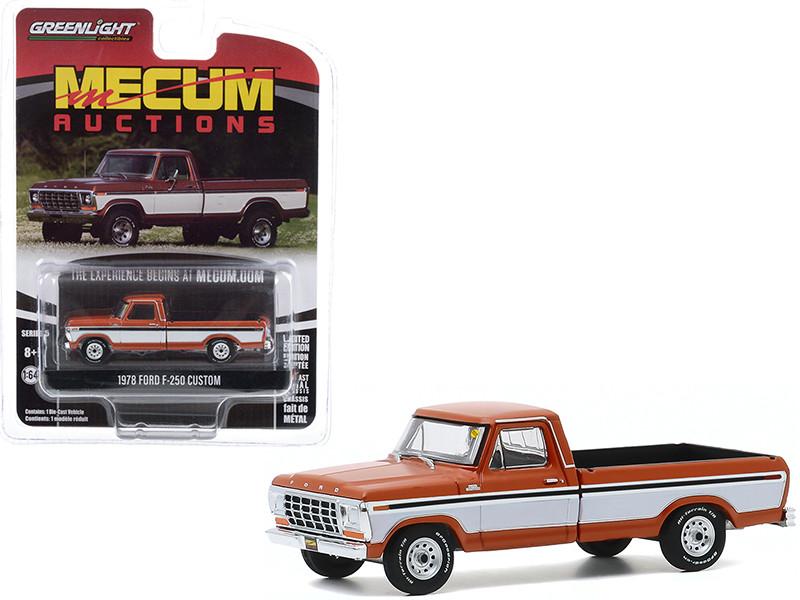 1978 Ford F-250 Custom Pickup Truck Orange Metallic White Sides Black Stripes Davenport Iowa 2019 Mecum Auctions Collector Cars Series 5 1/64 Diecast Model Car Greenlight 37210 F
