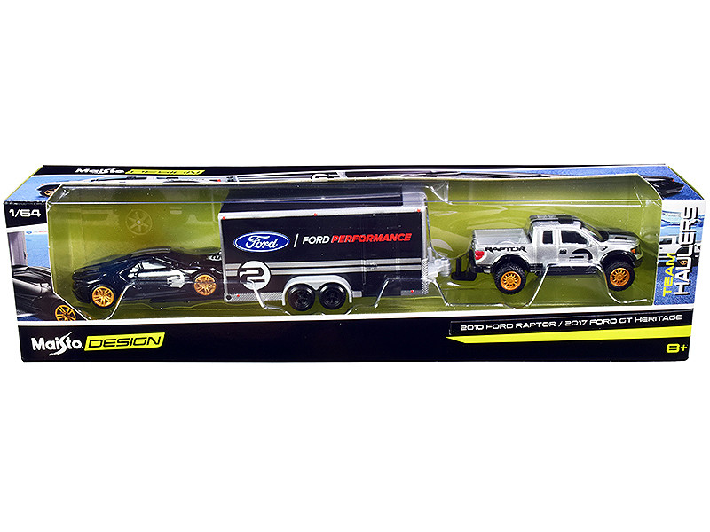 2010 Ford Raptor Pickup Truck Silver Metallic 2017 Ford GT #2 Heritage Edition Black Silver Stripes Enclosed Car Trailer Black Ford Performance Team Haulers Series 1/64 Diecast Model Cars Maisto 11404-20 B