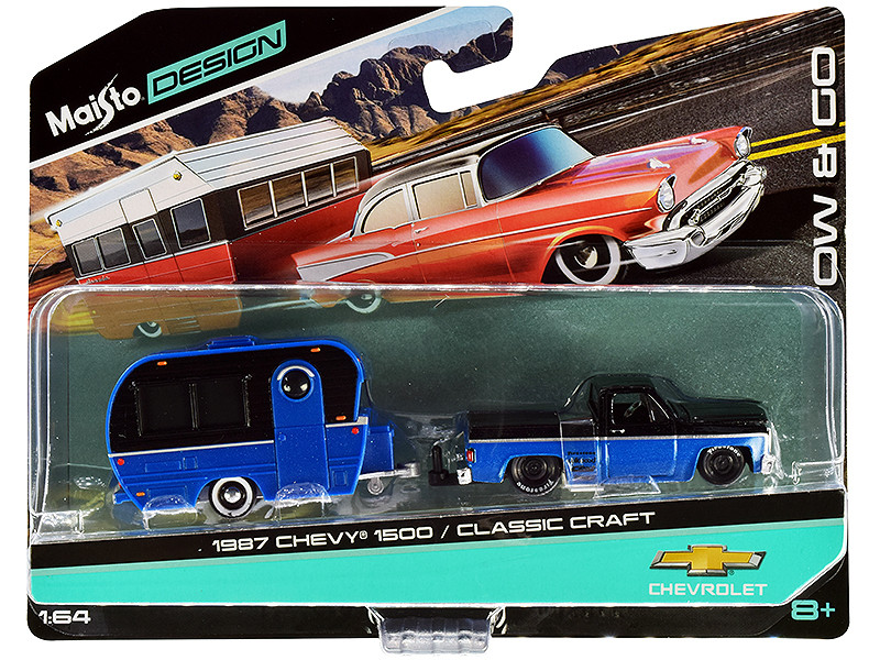 1987 Chevrolet 1500 Pickup Truck Bed Cover Classic Craft Travel Trailer Black Blue Metallic Tow & Go Series 1/64 Diecast Models Maisto 15368-20 A