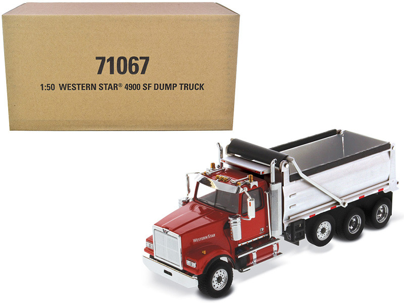 Western Star 4900 SF Dump Truck Red Silver 1/50 Diecast Model Diecast Masters 71067