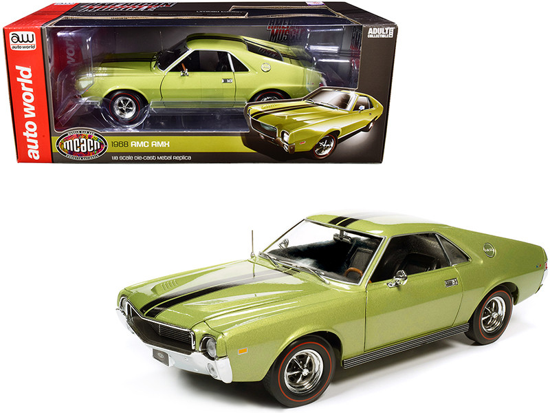 1968 AMC AMX Hardtop Light Green Metallic Black Stripes Muscle Car & Corvette Nationals MCACN 1/18 Diecast Model Car Autoworld AMM1214