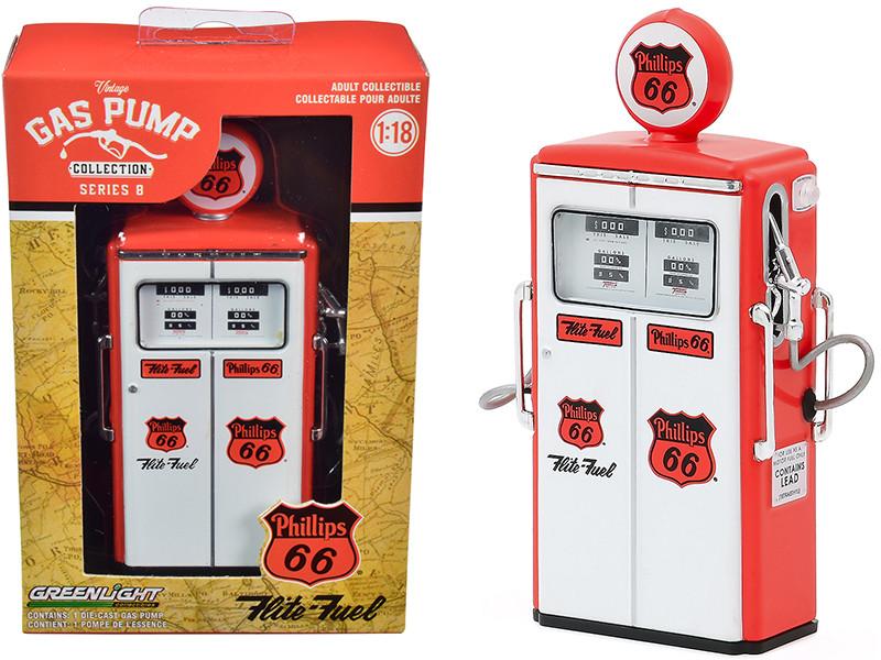 1954 Tokheim 350 Twin Gas Pump Phillips 66 Flite-Fuel Red White Vintage Gas Pumps Series 8 1/18 Diecast Model Greenlight 14080 C