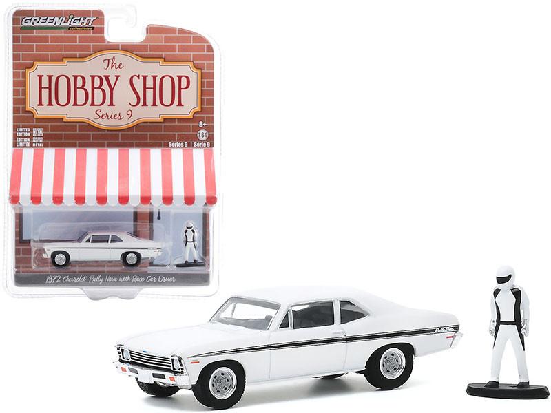 1972 Chevrolet Rally Nova White Black Stripes Race Car Driver Figurine The Hobby Shop Series 9 1/64 Diecast Model Car Greenlight 97090 C