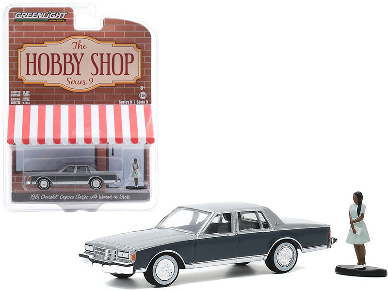 1981 Chevrolet Caprice Classic Light Gray Dark Gray Woman in Dress Figurine The Hobby Shop Series 9 1/64 Diecast Model Car Greenlight 97090 D