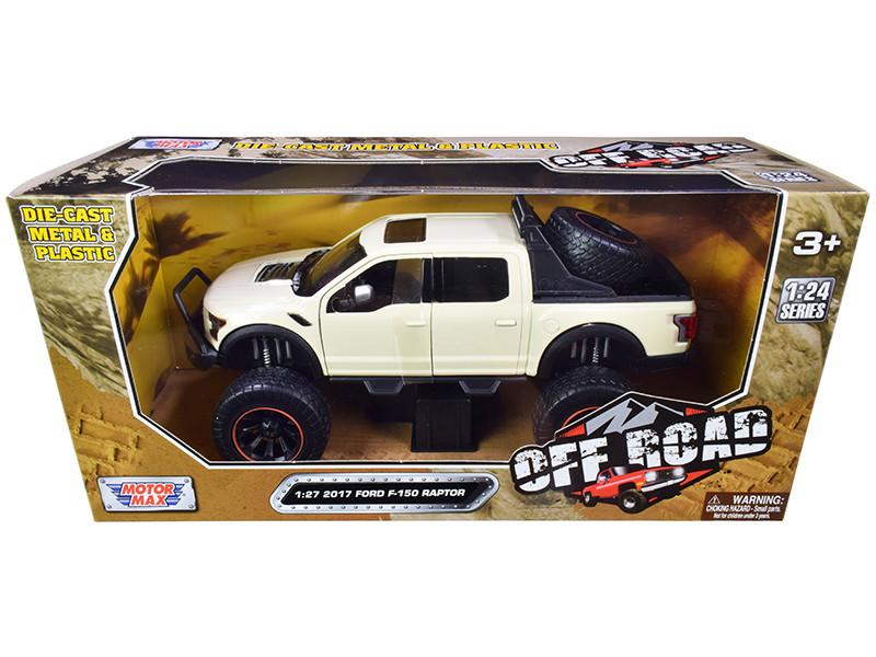 2017 Ford F-150 Raptor Pickup Truck Off Road Cream 1/27 Diecast Model Car Motormax 79142