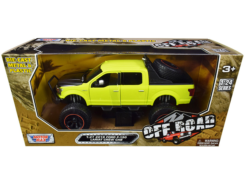 2019 Ford F-150 Lariat Crew Cab Pickup Truck Off Road Bright Green 1/27 Diecast Model Car Motormax 79146