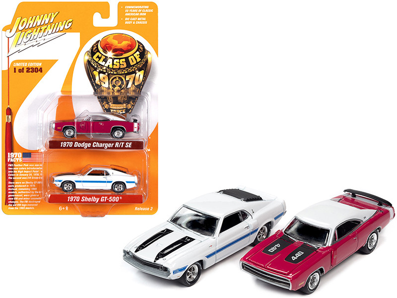 1970 Dodge Charger R/T SE Panther Pink 1970 Ford Mustang Shelby GT500 White Set of 2 pieces Class of 1970 Limited Edition 2304 pieces Worldwide 1/64 Diecast Model Cars Johnny Lightning JLPK010