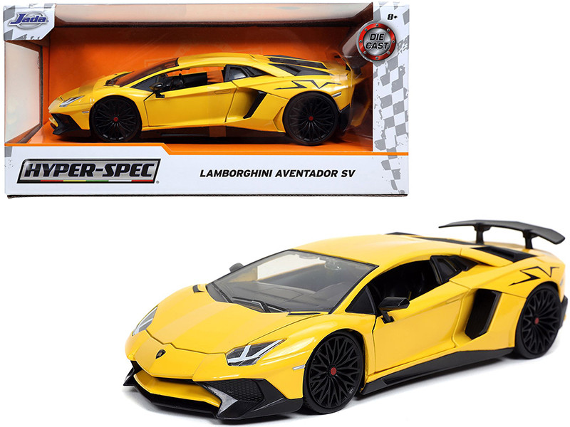 Lamborghini Aventador SV Yellow Hyper-Spec 1/24 Diecast Model Car Jada 32258