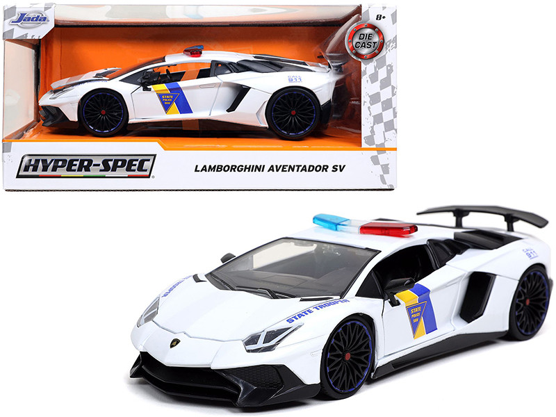 Lamborghini Aventador SV State Trooper Police Car White Hyper-Spec 1/24 Diecast Model Car Jada 32276