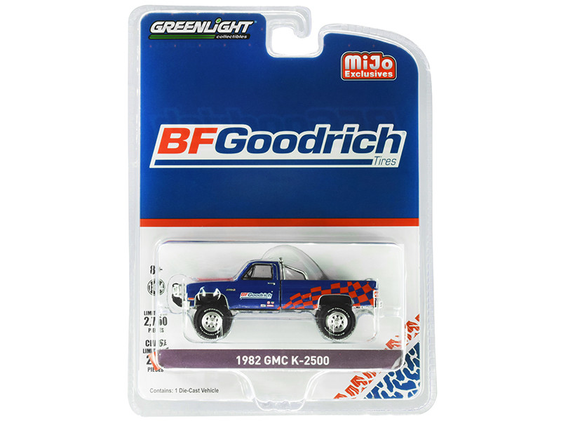 1982 GMC K-2500 Custom 4x4 Pickup Truck BFGoodrich Blue Limited Edition 2750 pieces Worldwide 1/64 Diecast Model Car Greenlight 51333