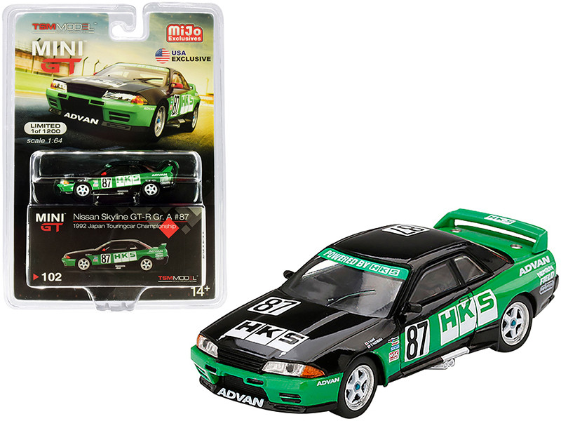 Nissan GT-R Gr A #87 HKS Japan Touringcar Championship 1992 Limited Edition 1200 pieces Worldwide 1/64 Diecast Model Car True Scale Miniatures MGT00102