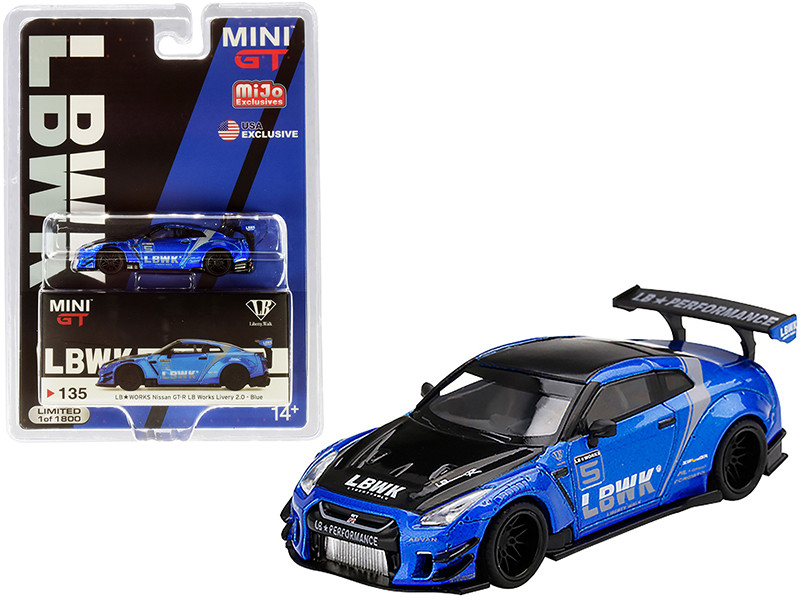 Nissan GT-R R35 Type 2 #5 Rear Wing LB Works Blue Limited Edition 1800 pieces Worldwide 1/64 Diecast Model Car True Scale Miniatures MGT00135