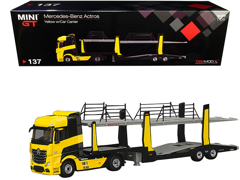 Mercedes Benz Actros Car Carrier Trailer Transporter Yellow 1/64 Diecast Model True Scale Miniatures MGT00137