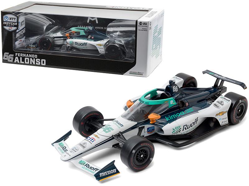 Dallara IndyCar #66 Fernando Alonso Ruoff Mortgage Arrow McLaren SP NTT IndyCar Series 2020 1/18 Diecast Model Car Greenlight 11097