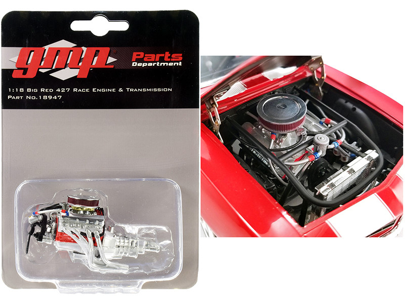 Big Red 427 Race Engine Transmission Replica from 1969 Chevrolet Camaro Big Red Camaro 1/18 Scale GMP 18947