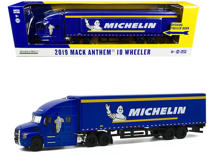 2019 Mack Anthem 18 Wheeler Tractor-Trailer Michelin Tires Blue Yellow Stripes 1/64 Diecast Model Greenlight 30185