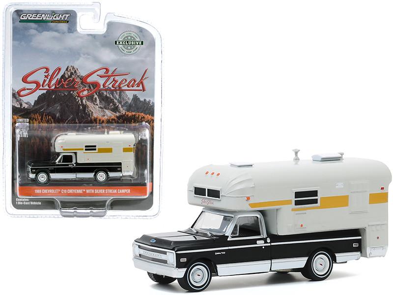 1969 Chevrolet C10 Cheyenne Pickup Truck Silver Streak Camper Black Cream Hobby Exclusive 1/64 Diecast Model Car Greenlight 30190