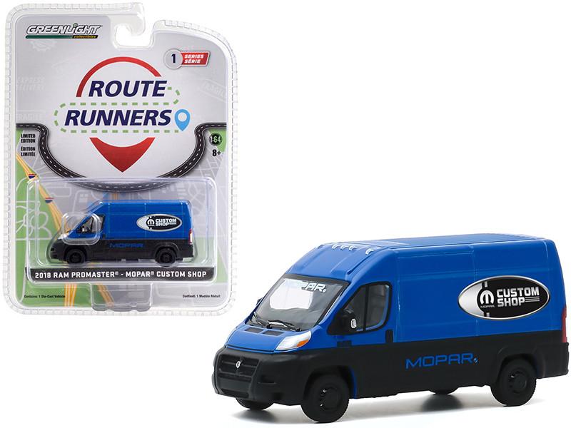 2018 RAM ProMaster 2500 Cargo Van High Roof MOPAR Custom Shop Blue Black Route Runners Series 1 1/64 Diecast Model Greenlight 53010 C