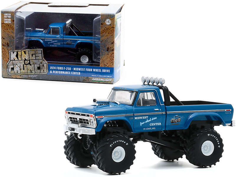 1974 Ford F-250 Ranger XLT Monster Truck 48-Inch Tires Midwest Four Wheel Drive Center Blue Kings of Crunch 1/43 Diecast Model Car Greenlight 88031