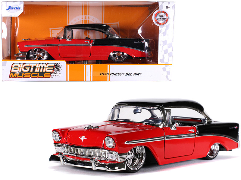 1956 Chevrolet Bel Air Red Black Bigtime Muscle 1/24 Diecast Model Car Jada 31861