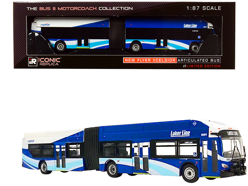 New Flyer Xcelsior XN60 Articulated Bus The Rapid Laker Line Grand Rapids Michigan Blue White The Bus Motorcoach Collection 1/87 HO Diecast Model Iconic Replicas 87-0197