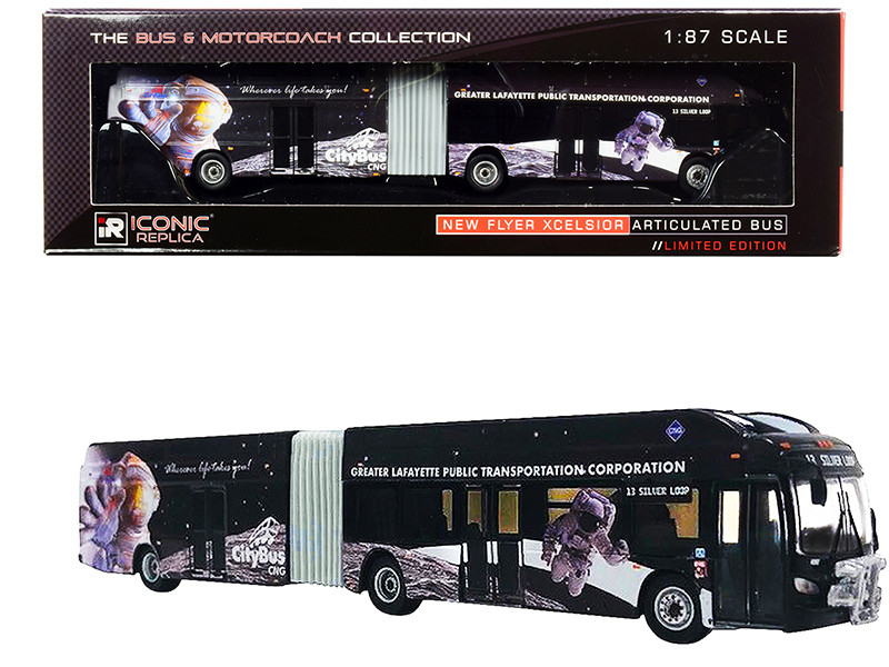 New Flyer Xcelsior XN60 Articulated Bus CityBus Silver Loop Lafayette Indiana Black The Bus Motorcoach Collection 1/87 HO Diecast Model Iconic Replicas 87-0202
