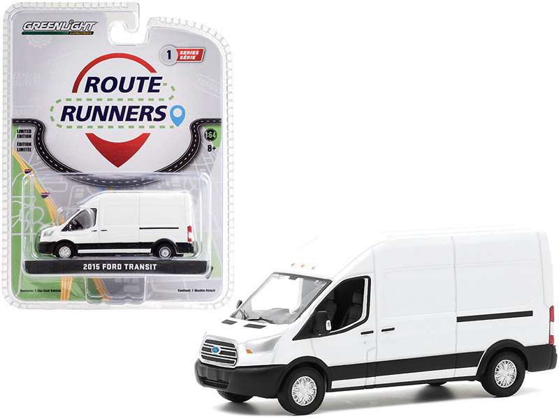 2015 Ford Transit High Roof Van Oxford White Route Runners Series 1 1/64 Diecast Model Greenlight 53010 A