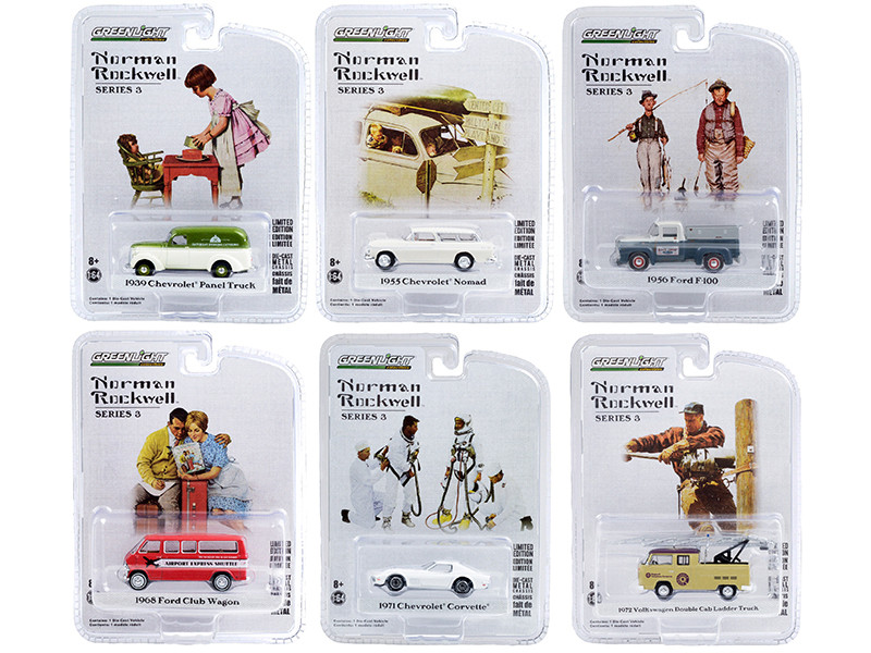 Norman Rockwell Set of 6 pieces Series 3 1/64 Diecast Model Cars Greenlight 54040