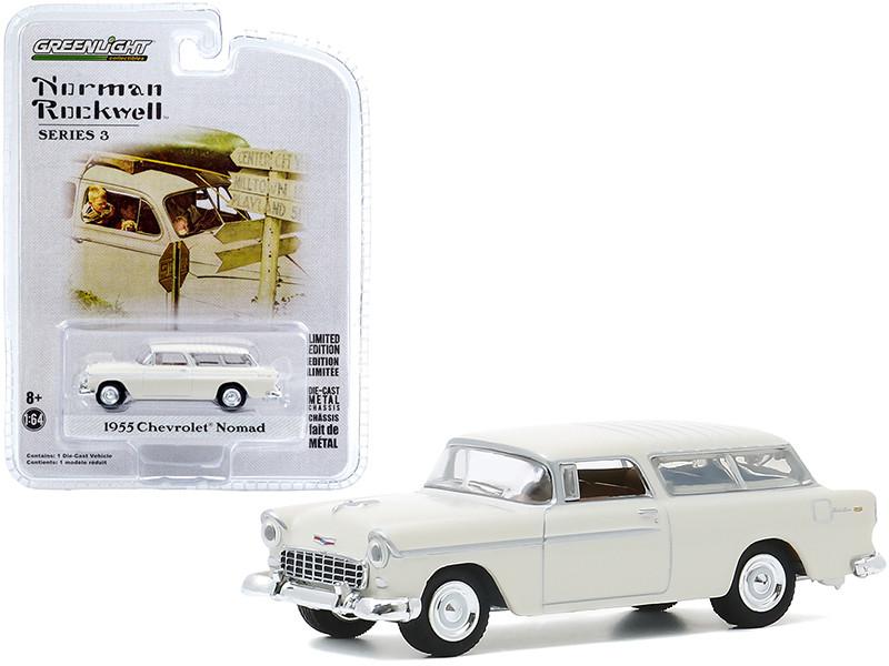 1955 Chevrolet Nomad Cream Norman Rockwell Series 3 1/64 Diecast Model Car Greenlight 54040 B
