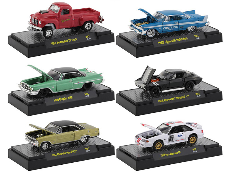 Auto Meets Set of 6 Cars IN DISPLAY CASES Release 52 1/64 Diecast Model Cars M2 Machines 32600-52