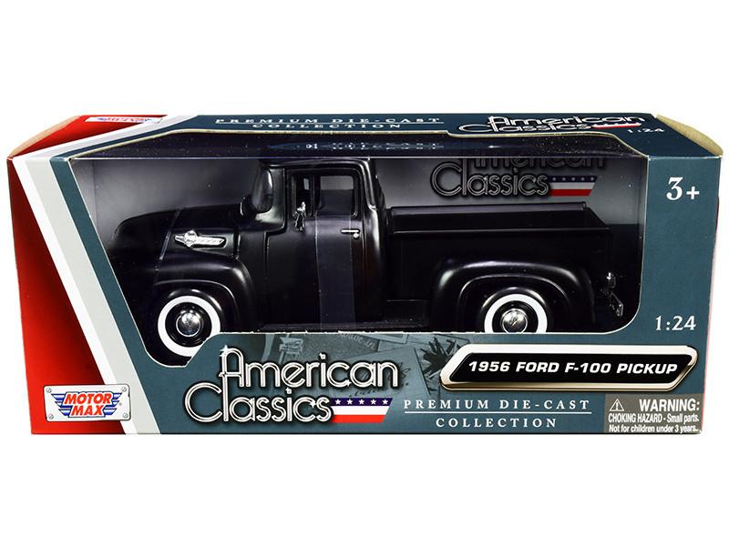 1956 Ford F-100 Pickup Truck Matt Black American Classics 1/24 Diecast Model Car Motormax 73235