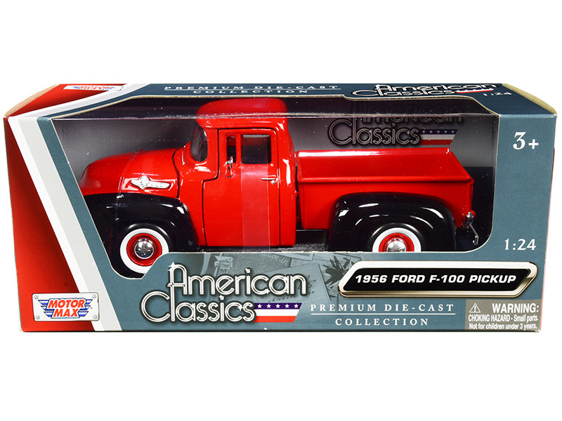 1956 Ford F-100 Pickup Truck Red Black Whitewall Tires American Classics 1/24 Diecast Model Car Motormax 73235