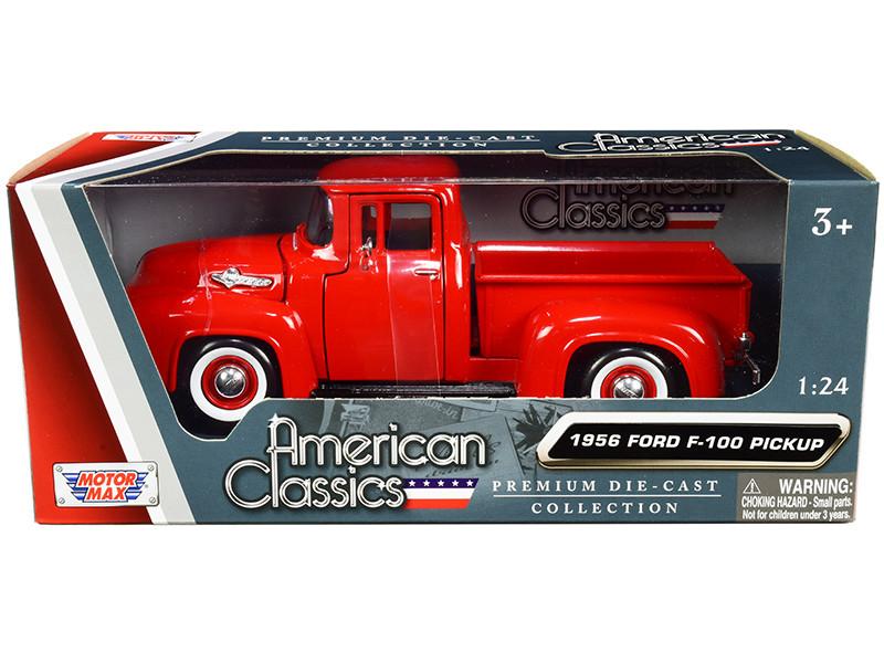 1956 Ford F-100 Pickup Truck Red Whitewall Tires American Classics 1/24 Diecast Model Car Motormax 73235