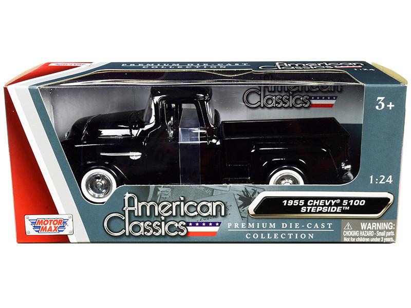 1955 Chevrolet 5100 Stepside Pickup Truck Black Whitewall Tires American Classics 1/24 Diecast Model Car Motormax 73236