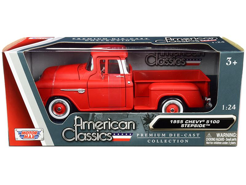 1955 Chevrolet 5100 Stepside Pickup Truck Matt Red Whitewall Tires American Classics 1/24 Diecast Model Car Motormax 73236