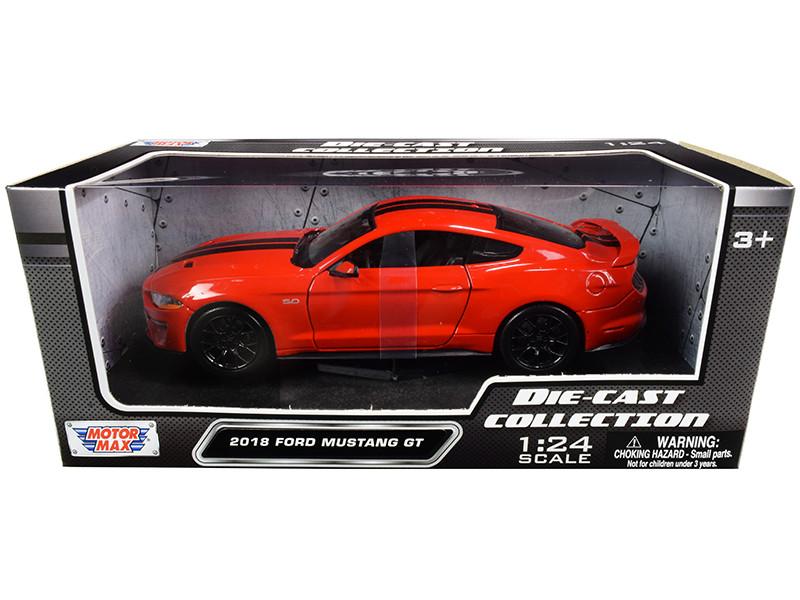2018 Ford Mustang GT 5.0 Red Black Stripes 1/24 Diecast Model Car Motormax 79352