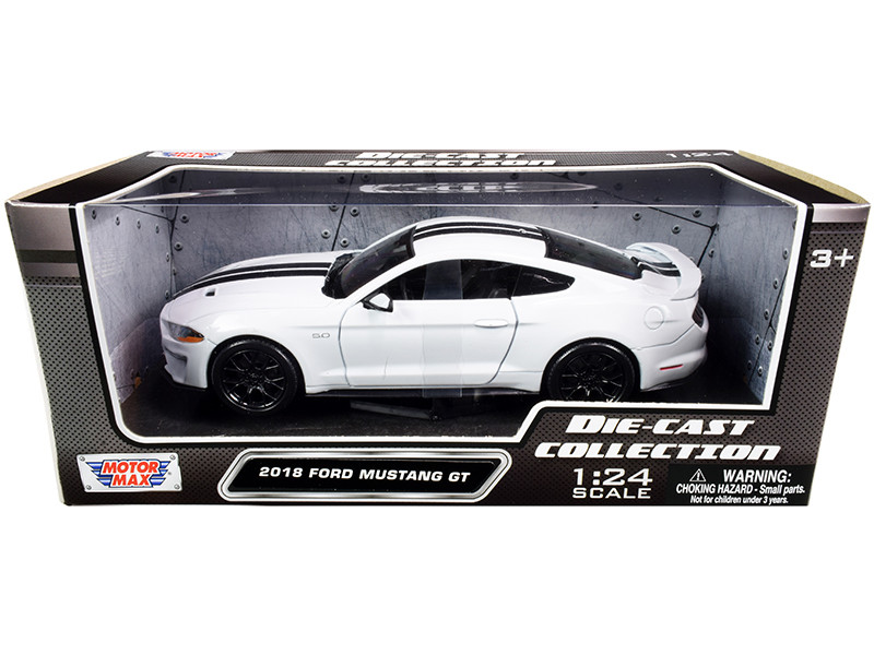 2018 Ford Mustang GT 5.0 White Black Stripes 1/24 Diecast Model Car Motormax 79352