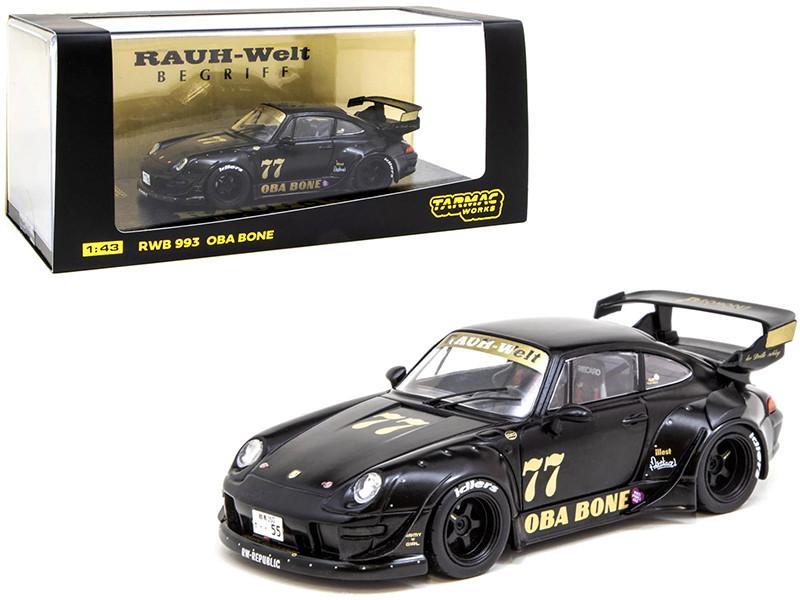 Porsche RWB 993 #77 Oba Bone Matt Black RAUH-Welt BEGRIFF 1/43 Diecast Model Car Tarmac Works T43-014-OB